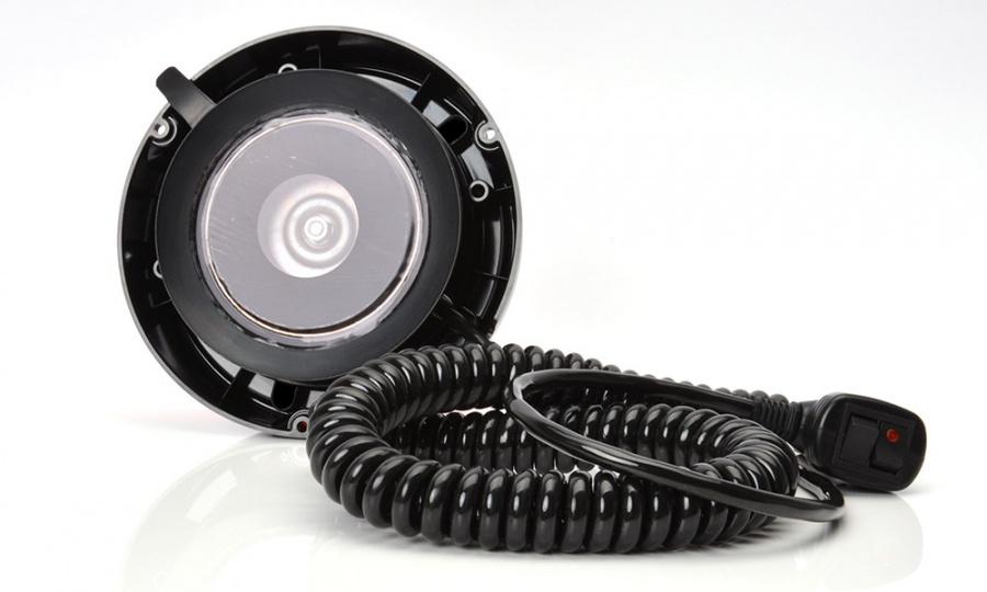 Maják magnetický LED modrý ,12/24V, kabel 7m, zástrčka, W112