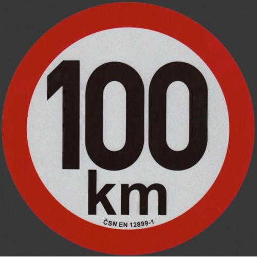 Reflexní samolepka omezení rychlosti 100km, prů. 20cm