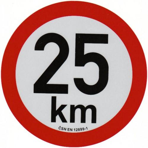 Reflexní samolepka omezení rychlosti 25km, prů.20cm