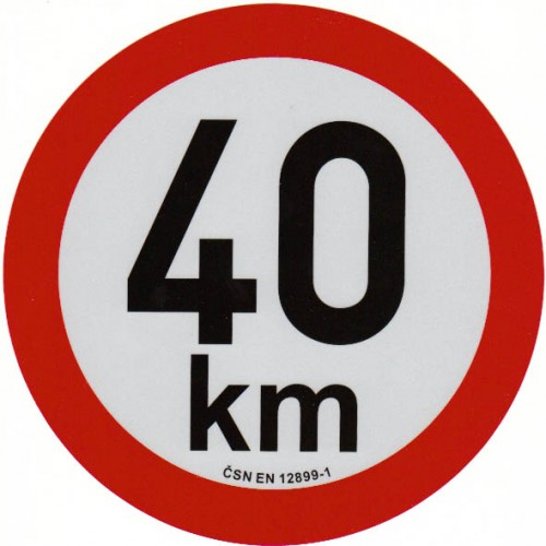 Reflexní samolepka omezení rychlosti 40km, prů. 20cm