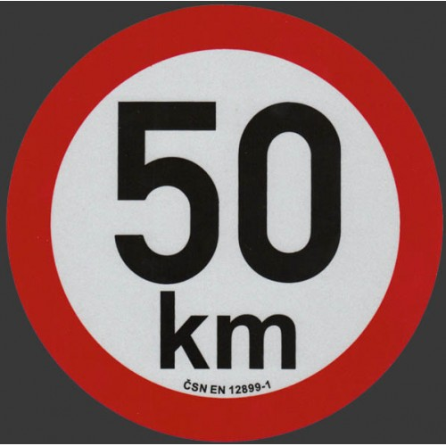 Reflexní samolepka omezení rychlosti 50km, prů. 20cm