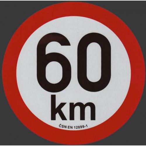 Reflexní samolepka omezení rychlosti 60km, prů. 20cm