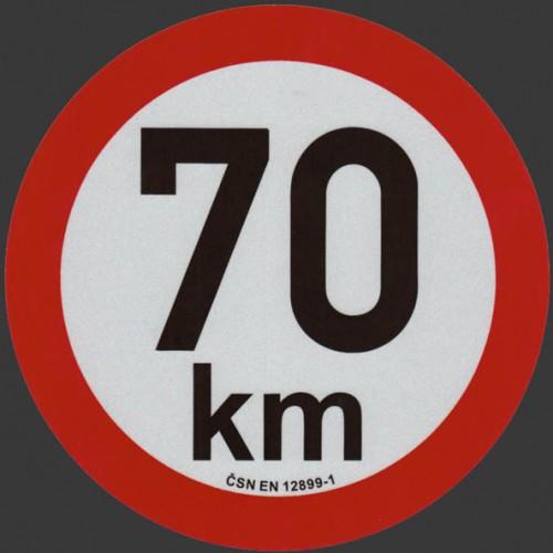 Reflexní samolepka omezení rychlosti 70km, prů. 20cm