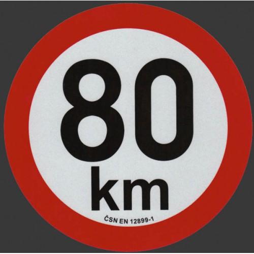 Reflexní samolepka omezení rychlosti 80km, prů. 20cm