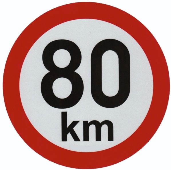 Reflexní samolepka omezení rychlosti 80km - pr.15cm
