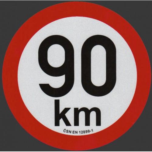 Reflexní samolepka omezení rychlosti 90km, prů. 20cm