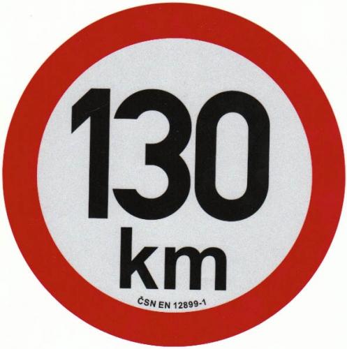 Reflexní samolepka omezení rychlosti 130km, prů. 20cm