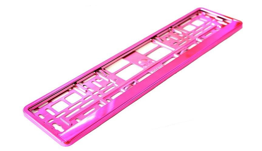 Podložka pod SPZ metallic s odnímatelným panelem růžová