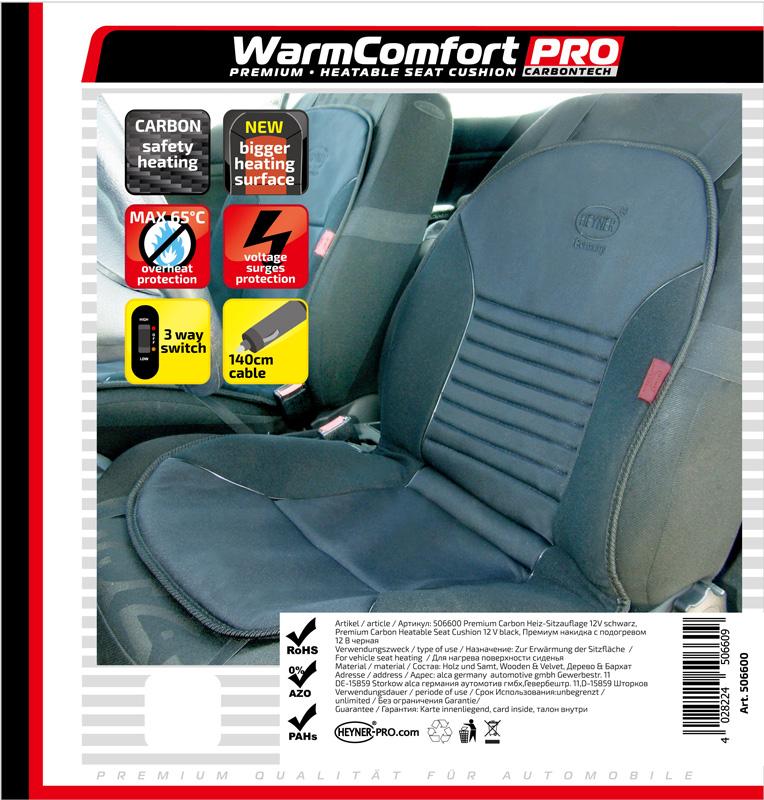 Potah sedadla (podložka) vyhřívaný 12V černý 3-st.regulace, 506600