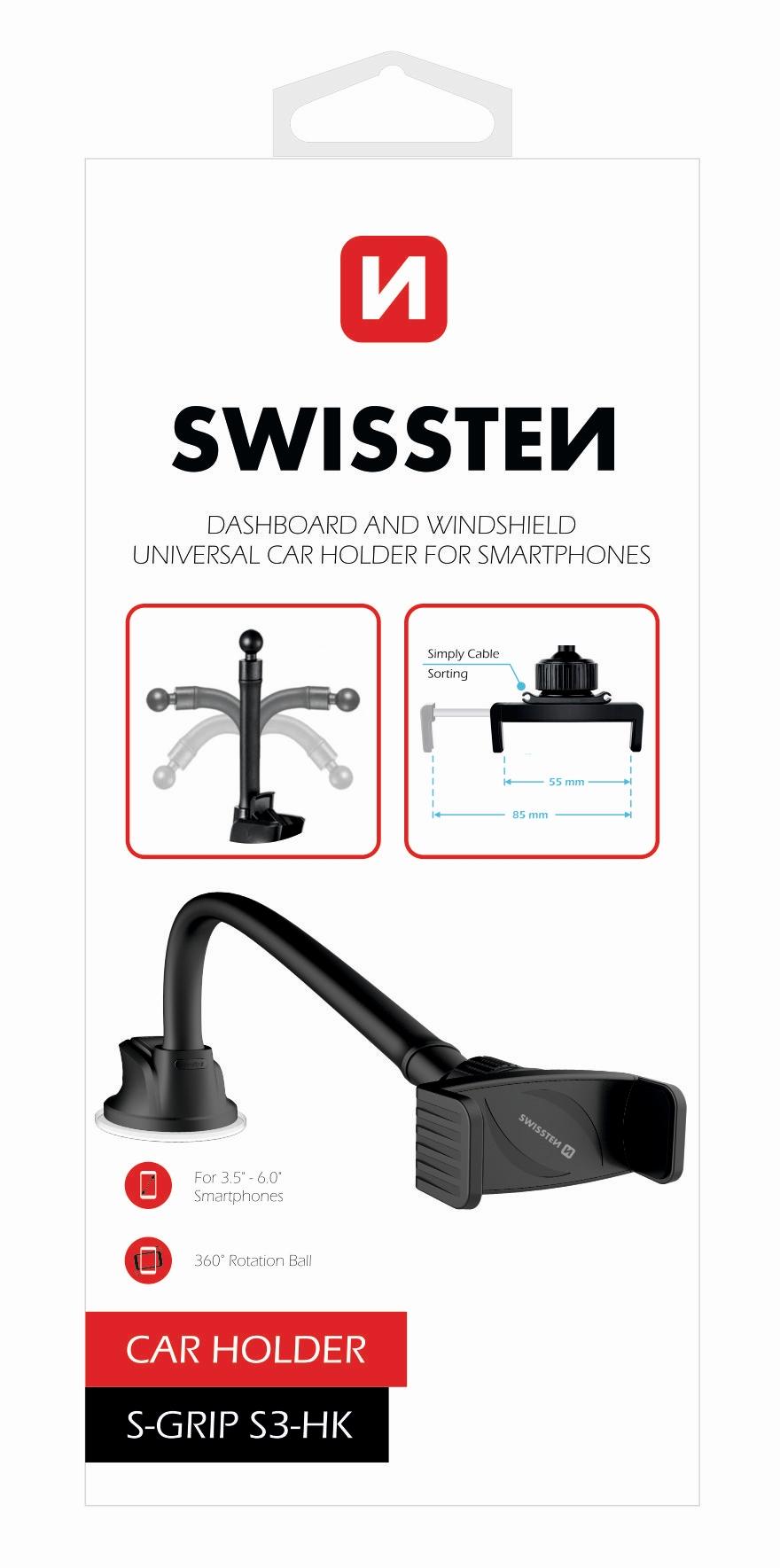 SWISSTEN Držák mobilu na přísavku SWISSTEN S-GRIP S3, husí krk