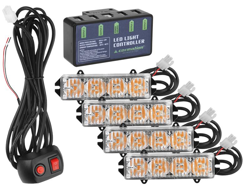 Výstražná světla led 12V/16W, s ovladačem, 86662