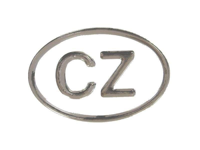 Samolepka CZ poloplast velká - stříbrná,A-CZ-100