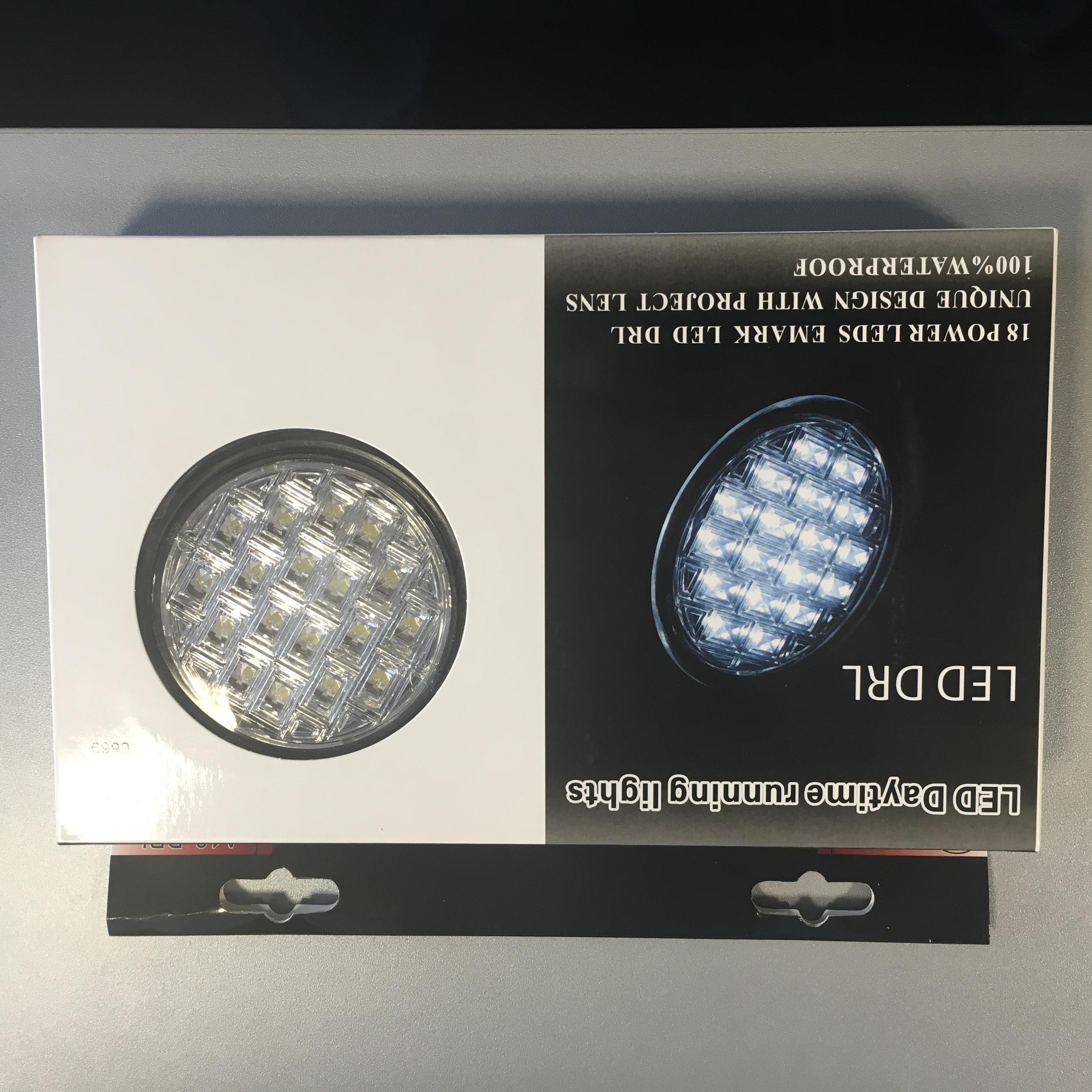 Světlo denního svícení 18 LED - kulaté 90mm, A18 DRL
