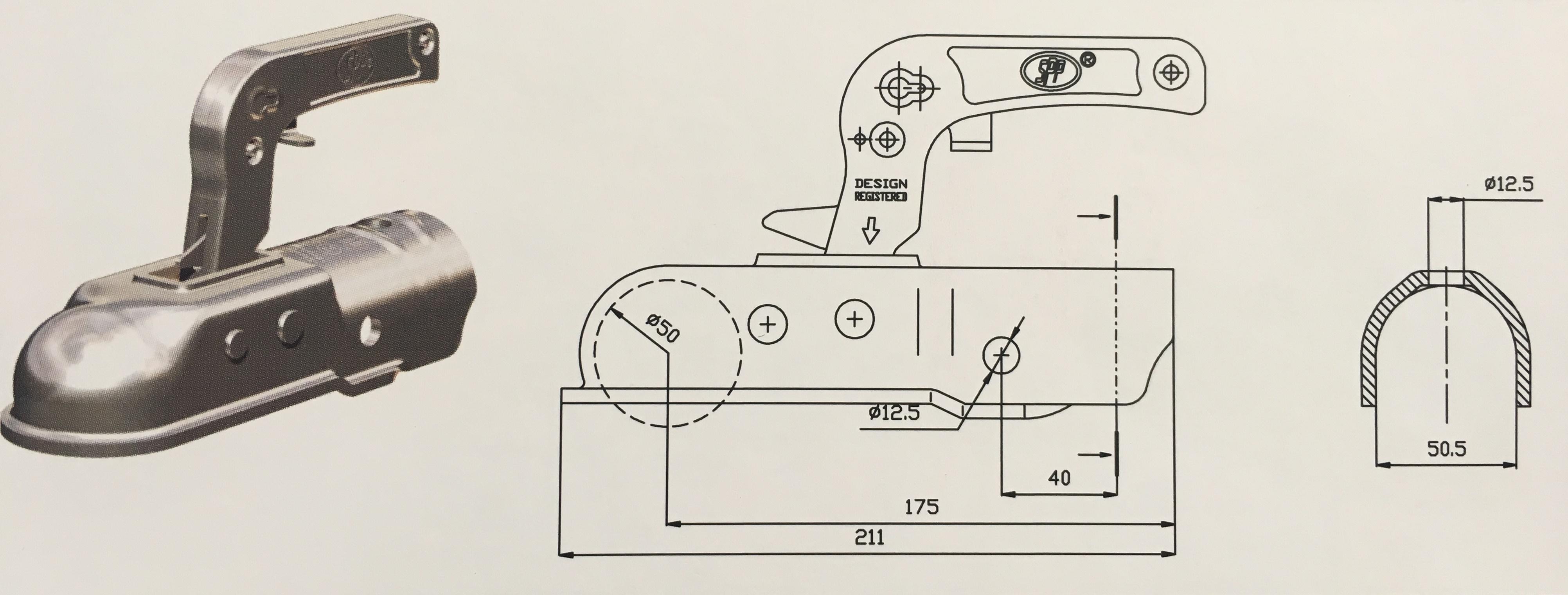 Přívěsný kloub ZSK-2000B, pr.50