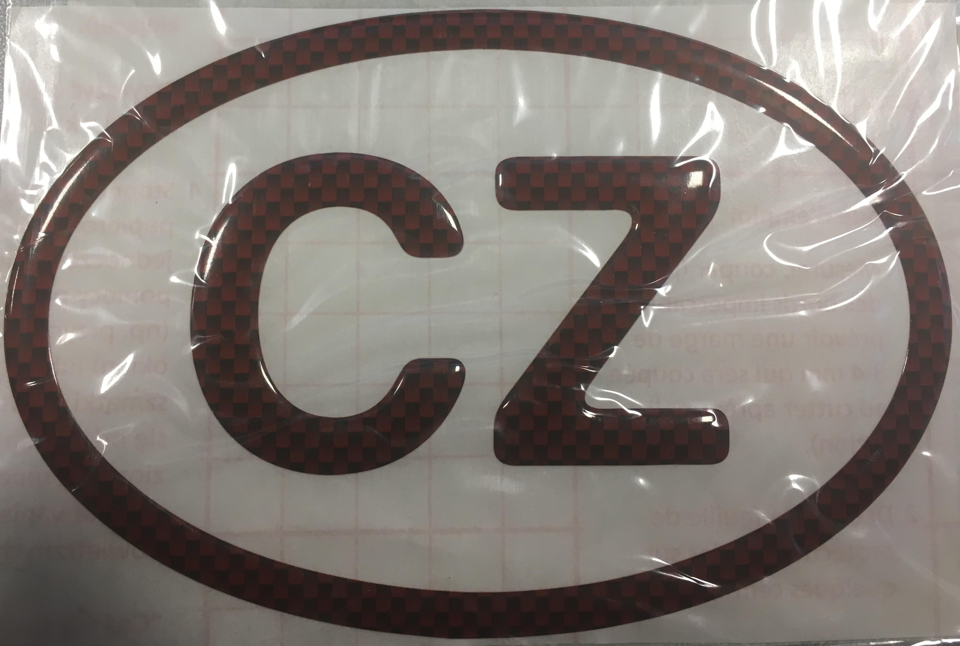 Samolepka CZ poloplast velká - carbon