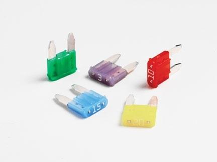 Pojistky nožové mini 10 A (balení po 100 ks)